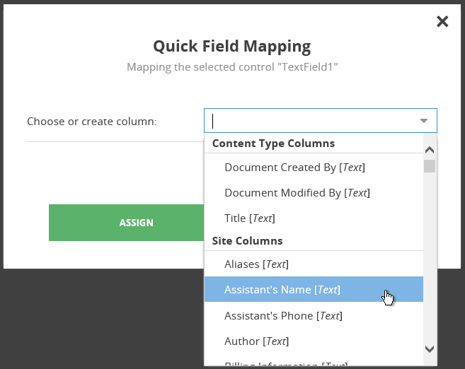 Map PDF form fields to SharePoint columns – PDF Share Forms